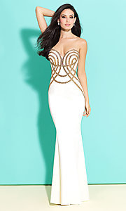 Strapless Beading Embellished Sleeveless Prom Dress