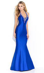 V-Neck Long Trumpet Skirt Prom Dress