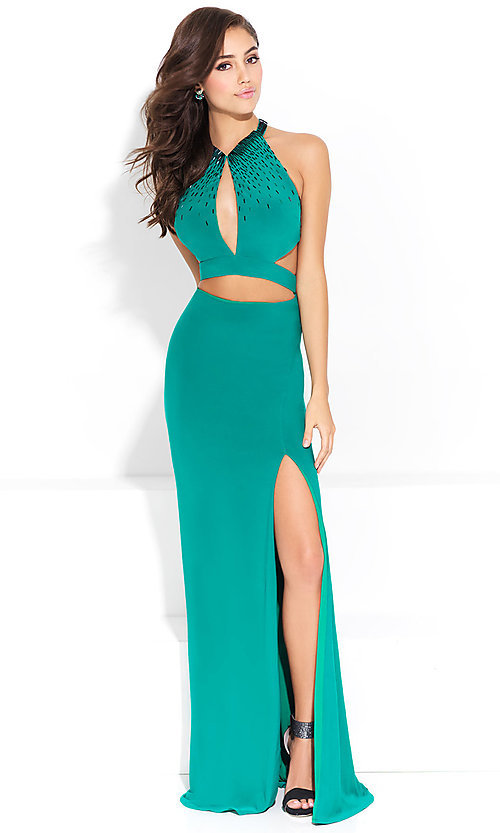 Image of mock-two-piece open-back prom dress with cut outs. Style: NM-17-253 Front Image