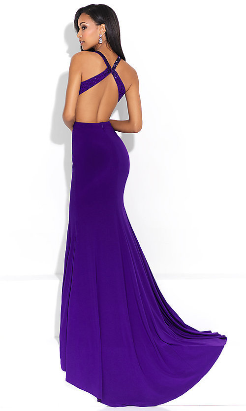 Image of mock-two-piece open-back prom dress with cut outs. Style: NM-17-253 Back Image