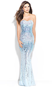 Long Sequin Strapless Sleeveless Prom Dress