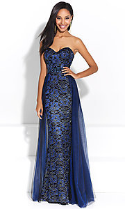 Long Embroidered Prom Dress with Overlay