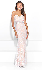 Strapless Lace Beaded Waist Prom Dress