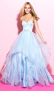 Ruffled Ball Gown Style Strapless Prom Dress