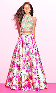 Two Piece Print Halter Prom Dress