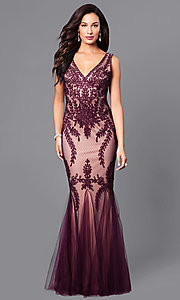Long V-Neck Formal Prom Dress with Lace Applique