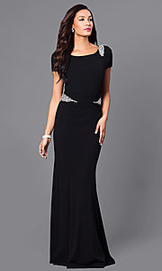 Short Sleeve Long Formal Dress with Jewel Accents