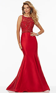 Long Trumpet Style Satin Open Back Prom Dress