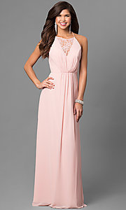 Long Chiffon Prom Dress with Lace V-Neck Inset