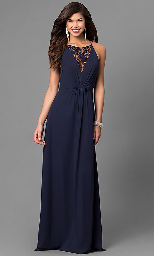 Image of long chiffon prom dress with lace v-neck inset. Style: BJ-1708 Detail Image 1
