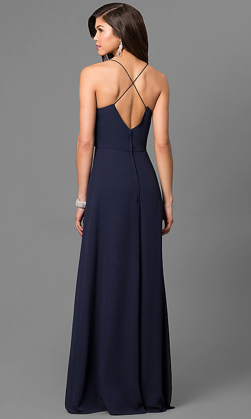 Image of long chiffon prom dress with lace v-neck inset. Style: BJ-1708 Back Image