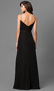 Image of long black prom dress with sequin sweetheart bodice. Style: BJ-1710 Back Image