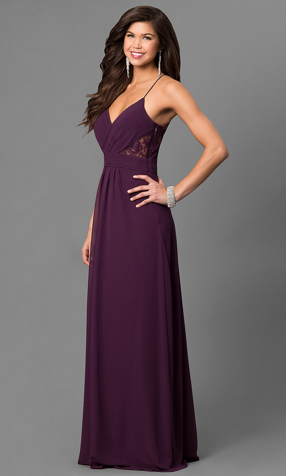 bb438214914 Eggplant Purple Long Prom Dress with V-Neck-PromGirl