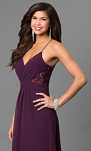 Image of long eggplant purple prom dress with lace back. Style: BJ-1724 Detail Image 3