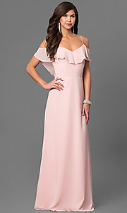 Cold-Shoulder Long Chiffon Prom Dress in Blush Pink