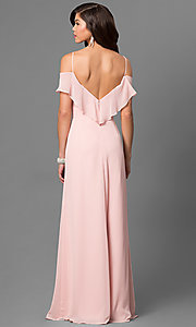 Image of cold-shoulder long chiffon prom dress in blush pink. Style: BJ-1730 Back Image