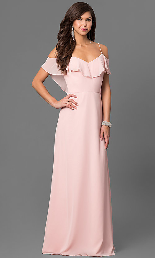 Image of cold-shoulder long chiffon prom dress in blush pink. Style: BJ-1730 Front Image