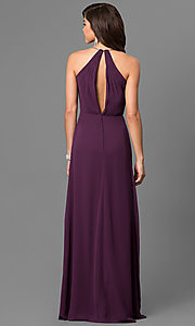 Image of empire-waist eggplant purple prom dress with v-neck. Style: BJ-BC-1723 Back Image