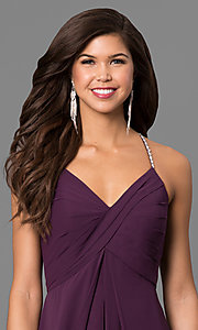 Image of empire-waist eggplant purple prom dress with v-neck. Style: BJ-BC-1723 Detail Image 1