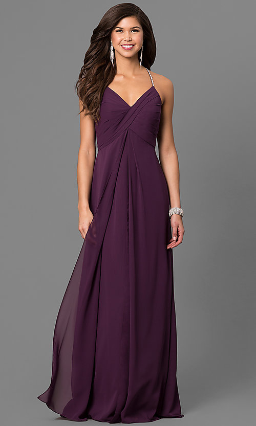 0fccf27c372 Image of empire-waist eggplant purple prom dress with v-neck. Style