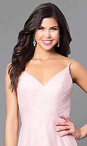 Image of high-low blush pink prom dress with ruched v-neck. Style: BJ-EN-1714 Detail Image 1