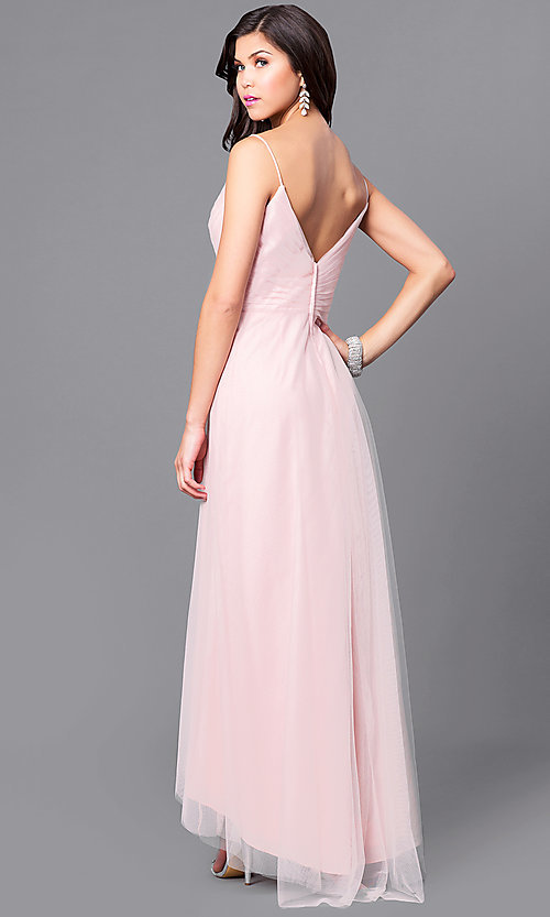 Image of high-low blush pink prom dress with ruched v-neck. Style: BJ-EN-1714 Back Image