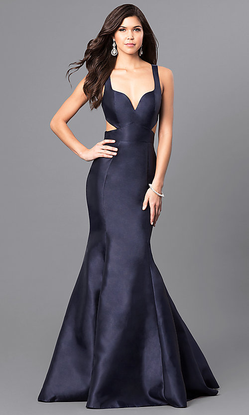 Image of v-neck long satin prom dress from JVNX by Jovani. Style: JO-JVNX49696 Front Image
