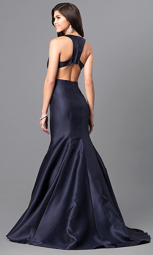Image of v-neck long satin prom dress from JVNX by Jovani. Style: JO-JVNX49696 Back Image