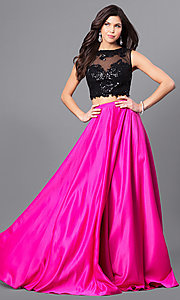 Image of lace-top two-piece long designer prom dress from JVNX by Jovani. Style: JO-JVNX50658 Front Image