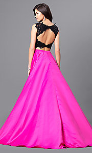 Image of lace-top two-piece long designer prom dress from JVNX by Jovani. Style: JO-JVNX50658 Back Image