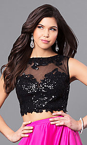 Image of lace-top two-piece long designer prom dress from JVNX by Jovani. Style: JO-JVNX50658 Detail Image 1