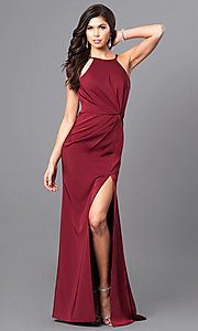 Ruched Wine Red Prom Dress from JVNX by Jovani