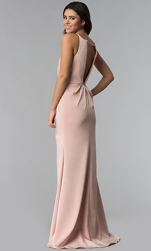Image of ruched wine red prom dress from JVNX by Jovani. Style: JO-JVNX50411 Back Image