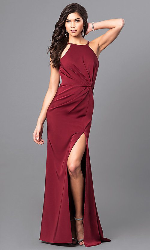 Image of ruched wine red prom dress from JVNX by Jovani. Style: JO-JVNX50411 Front Image