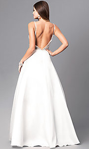 Image of off-white long a-line prom dress with beaded bodice. Style: JO-JVN-JVN51488 Back Image