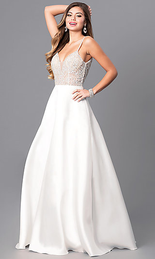 Long Beaded-Bodice Off-White Prom Dress - PromGirl