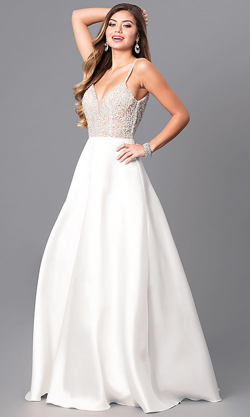 Image of off-white long a-line prom dress with beaded bodice. Style: JO-JVN-JVN51488 Front Image