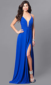 Long V-Neck Prom Dress with Corset Tie Back