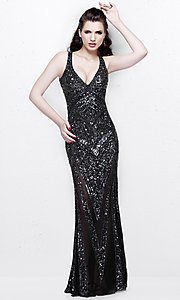 Long V-Neck Open Back Sequin Prom Dress