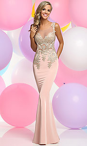 Long Prom Dress with Scoop Neck Beaded Bodice