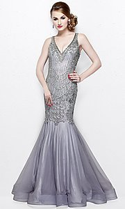 Long Mermaid Style Beaded and Sequin Prom Dress