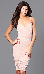 Image of lace v-neck short party dress with adjustable straps. Style: DC-44495 Detail Image 3
