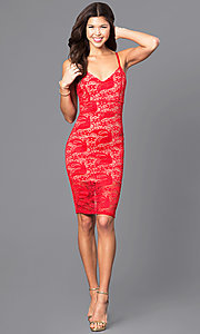 Image of lace v-neck short party dress with adjustable straps. Style: DC-44495 Detail Image 2