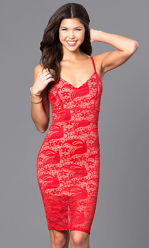 Image of lace v-neck short party dress with adjustable straps. Style: DC-44495 Detail Image 1