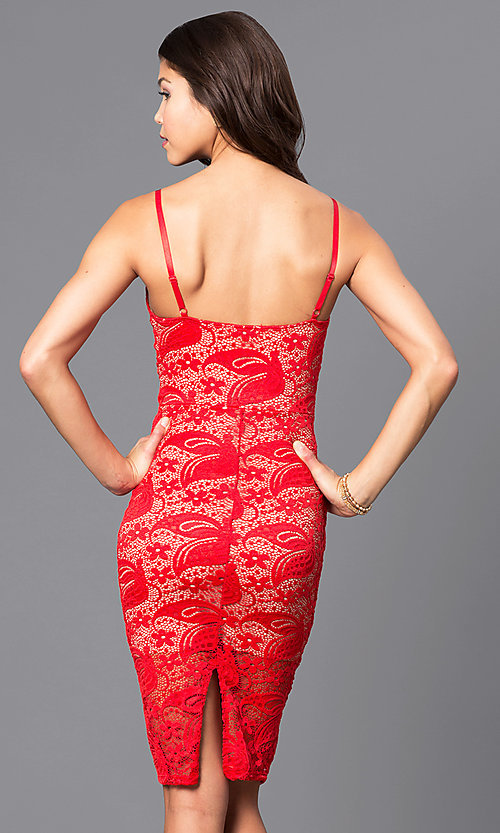 Image of lace v-neck short party dress with adjustable straps. Style: DC-44495 Back Image