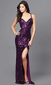 Sequin V-Neck Prom Dress with Cut Outs