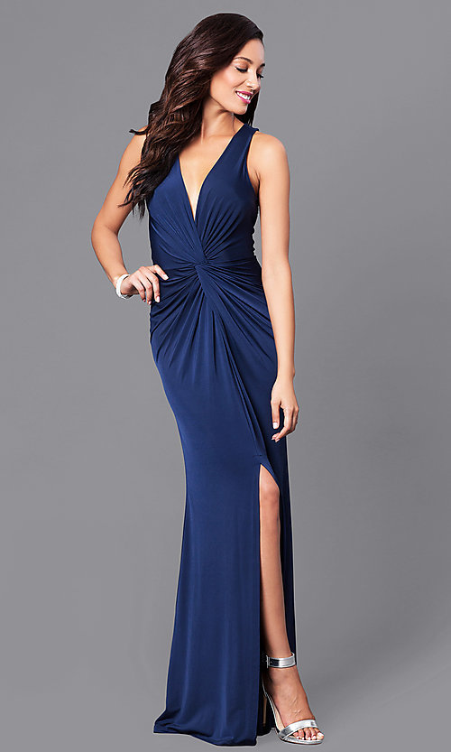 Image of long v-neck sleeveless formal dress with slit. Style: MB-7120 Front Image