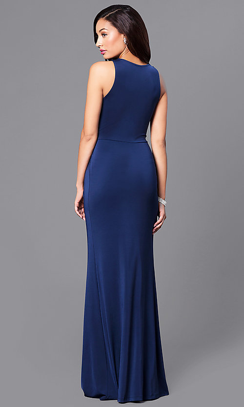 Image of long v-neck sleeveless formal dress with slit. Style: MB-7120 Back Image