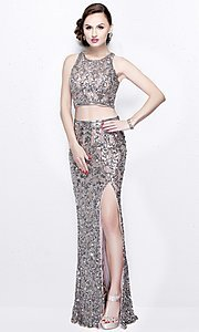 Scoop Neck Mock Two Piece Sequin Prom Dress