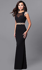 Long Prom Dress with Contrasting Waist and Cap Sleeves